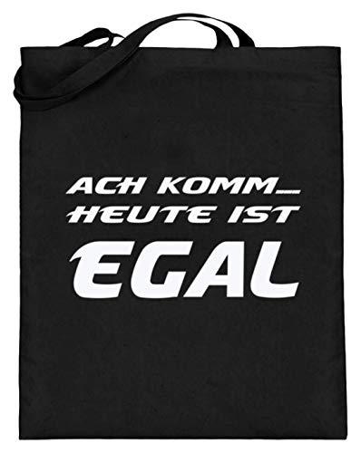 Ach Komm. Heute Ist Egal! - Party, Saufen, Trinken, Alkohol, Schnaps, Bier, Alkoholiker - Jutebeutel (mit langen Henkeln) -38cm-42cm-Schwarz