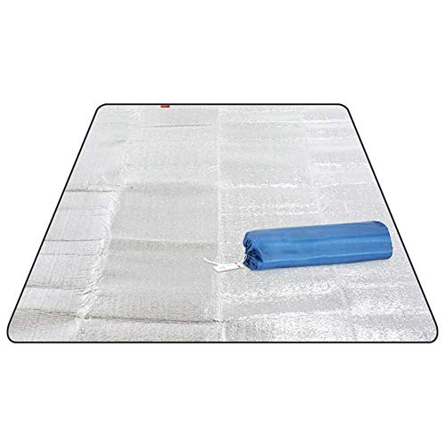 Picnic Blanket Aluminum Foil Waterproof Sand-Proof Sleeping Mat Moisture-Proof Mat Beach Blanket Insulating Thermal Portable Fold Ultralight Rug Cushion for Camping Bbq (L, Xl)