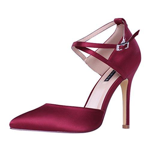 ERIJUNOR E2264 Women High Heel Ankle Strap Satin Dress Pumps Evening Prom Wedding Shoes Burgundy 11