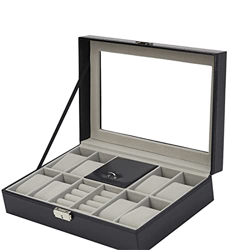 hermosa Organizador de la joyería Caja de viajes Reloj de almacenamiento Caja de exhibición PU Gafas de cuero Colección de almacenamiento Caja de visualización (Color: Negro, Tamaño: Un tamaño)