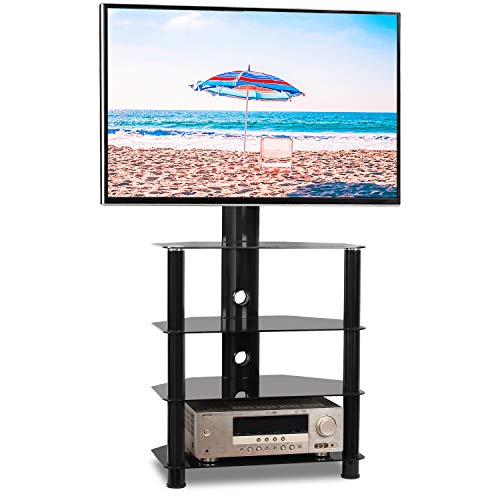"Rfiver Black Floor TV Stand with Swivel Mount for most 32""-55"" Flat Screen/Curved TV, 4-Tier Tempered Glass Media Shelves Storage, Height Adjustable and Cable Mangement, Perfect for Corner and Bedroom"
