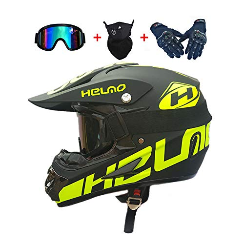NMAQ Adulto Motocross Casco MX Moto Casco ATV Scooter ATV Casco, Letras Negras AC-027 Juego de Casco Road Racing para el Casco Integral de Campo a través Four Seasons con Gafas y Guantes,XL