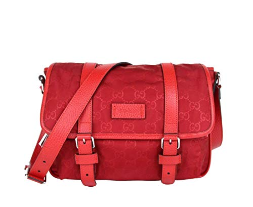 Gucci Women's Red Monogram GG Nylon Small Messenger Bag 510335 6523