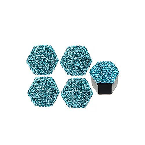 Bling Bling Perno Tapa Tuerca de Rueda,MoreChioce 20 pcs Tuerca de Perno Cubiertas de Diamantes de Imitación de Plástico Tapas Tapa Rueda Coche Universales Protector Hexagonal,19mm Lago Azul