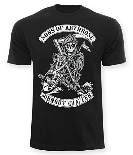 Sons Of Arthrose T-Shirt Burnout Chapter, für Herren, Biker-Shirt mit Frontprint, 100% Baumwolle, Club-Shirt mit lustigem Spruch, lässiger Regular fit, Schwarz, XL