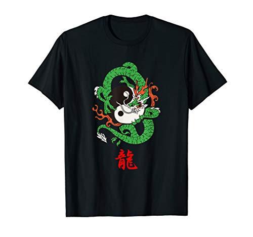 Drachen T-Shirt Japanischer Zeichen , rote Kanji Schreiben