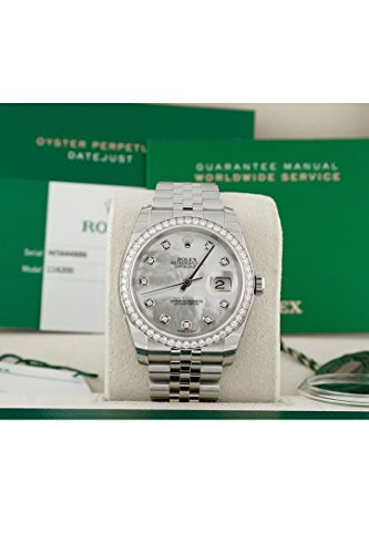 Fashion Shopping Rolex Datejust 36mm Mother of Pearl Dial Diamond Bezel Steel Ladies Watch 116244