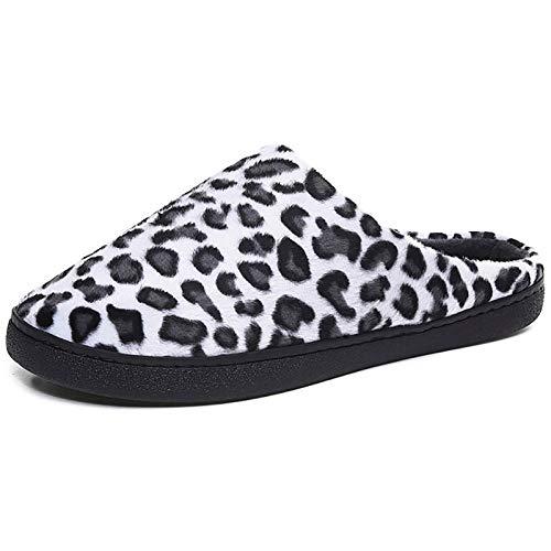 KIKIGO Zapatillas Antideslizantes Hombre,Zapatillas de casa de Hombre de Suela Gruesa en Invierno, Zapatos de Felpa de algodón para el Calor Interior.-en Blanco y Negro_45