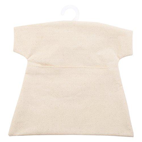 Neoviva Wasserdichter Wäscheklammerbeutel an Kleiderhaken aus Kunststoff, Polyvinylchlorid-beschichtet, im Design eines kurzen T-Shirts, Natural Canvas Beige, 30(L)x30(W) CM