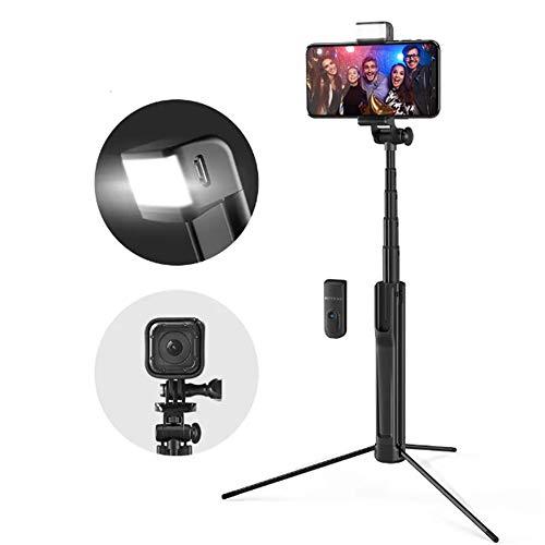 Kuingbhn Selfie Stick Stativ Ausziehbare Bluetooth Stativ Selfie-Stick mit LED-Fill-Licht for Telefon-Sport-Kamera - Schwarz für Smartphone (Color : Black, Size : 82CM)