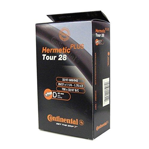 Continental Schlauch Tour 28 Hermetic Plus DV 40 Fahrradschlauch, Schwarz, DV 40 (32/47 - 622)
