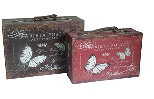 Alice Collection de juego de 2maletas de madera–mariposas–39x 27x 13cm y 34x 22x 11cm