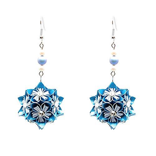 Orecchini di carta - impreziositi con cristalli Swarovski - idea regalo per lei - Gioielli fatti a mano - Colore azzurro