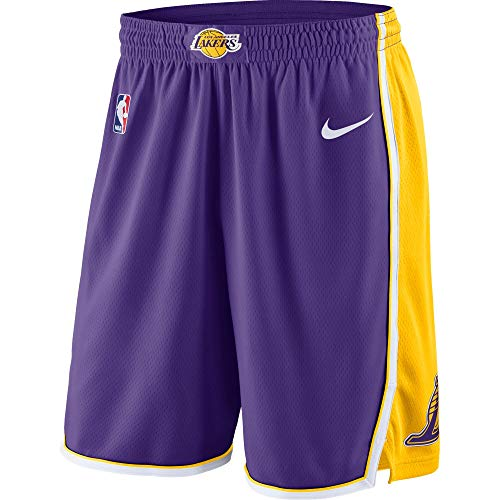 Los Angeles Lakers Youth 8-20 Official Swingman Performance Shorts (Medium, Los Angeles Lakers Purple Yellow Statement Edition Shorts)