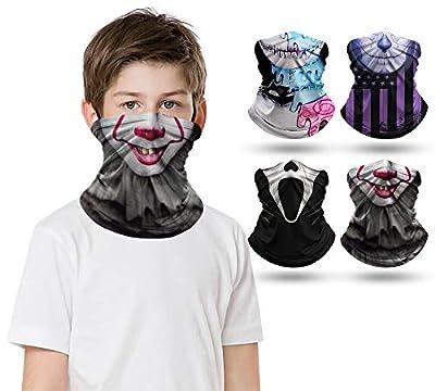 2/4/9 PCS Kids Face Mask Neck Gaiters Full-Coverage Bandanas Headband Tube Neck for Boys Girls