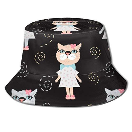 Gorra para el Sol, Linda y Hermosa, Gato, niña, Vestido, Cubo, Sombrero...