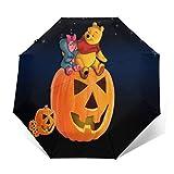 Compact Auto Open/Close Trifold Travel Anti-Uv Umbrella, Windproof Folding Lightweight Reverse Portable Outdoor Parasol Umbrella Rain&Sun, Disney Winnie Pooh and Pigle Halloween Pumpkin Lamp