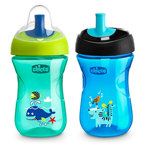 Chicco Sport Spout Trainer Sippy Cup Teal and Blue 9m and Older, 9oz (2pk)