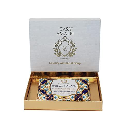 CASA AMALFI- Confezione Regalo Buongiorno Positano Sapone, Luxury & Artigianale con Burro di Karitè, Sapone Idratante, 100% Ingredienti Naturali Vegani, Plastic free (Take me To Capri Gift Box)