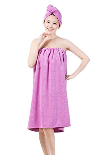Ultra Absorbent Microfiber Sexy Spa Bath Wrap Cover Up Towels Set Soft Cozy Fleece Terry Bathrobe Bath Towel Tube Dress Robe Nightgown Sleepwear with Shower Hair Drying Turban Cap Hat for Women Girls