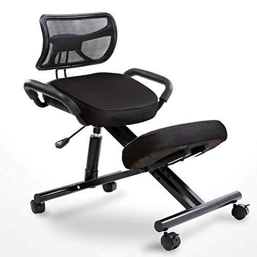 Ergonomic Kneeling Chair,Perfect for Relieving Back and Neck Pain & Improving Posture,with Back Support,Adjustable Stool for Home and Office,Black Mesh Cushion Surface