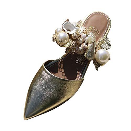 KERULA Sandalen Damen, Spitzzehen Maultiere Blumen Perle Lazy Flat Causal Damenschuhe Shoes Strandschuhe Sandaletten Schuhe