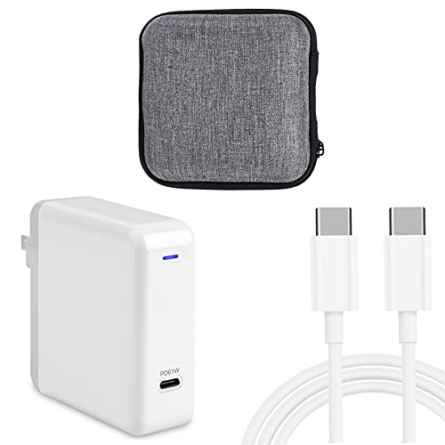 KAYCQYIN MacBook Pro Charger 61W USB-C Power Adapter Compatible with MacBook Air 13 Inch 2020 2019 2018 and Mac 12 Inch 2017 2016 2015, Mac USB C Charger with Travel Case and 6.56ft USB C to C Cable