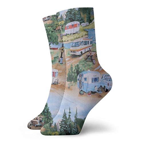 YudoHong Anhänger Camping Wohnmobile Männer Frauen Neuheit Lustige Verrückte Crew Socke Gedruckt Sport Sportliche Socken 30 cm Lange Personalisierte Geschenk Soc