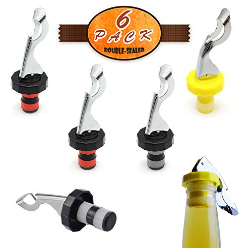 6 Pcs Wine Stoppers, Food-safe Silicone Vacuum Bottle Stoppers, Expanding Manual Beverage Stopper, Reusable Wine Bottle Corks for champagne, beer, whiskey, soda, beverage, water (Red/Yellow/Black)
