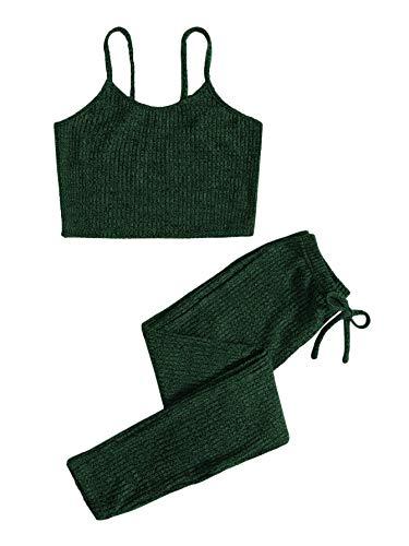 SOLY HUX Leggings y top Sets de 2 piezas para mujer, tirantes finos, parte inferior de la barriga, pantalones ajustados de punto, conjunto de deporte de 2 piezas verde oscuro XL