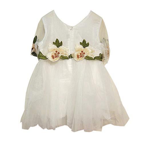 Moneycom: Vestido de encaje floral para niñas, niñas, niñas, niñas, niñas, niñas, encaje, floral, para fiestas, bodas, color verde menta blanco 3-4 Años