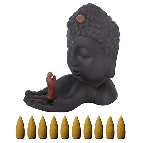 AUNMAS Escultura Buda Pequeño Cerámica Negro Humo