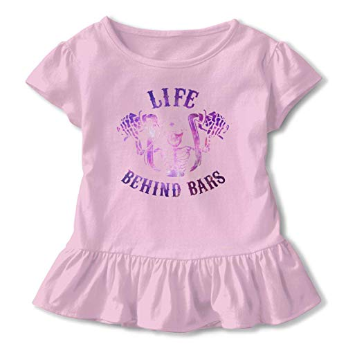 Motociclista bebé niña vestido acogedor volantes camiseta manga corta para 2-6T Rosa rosa 2 años
