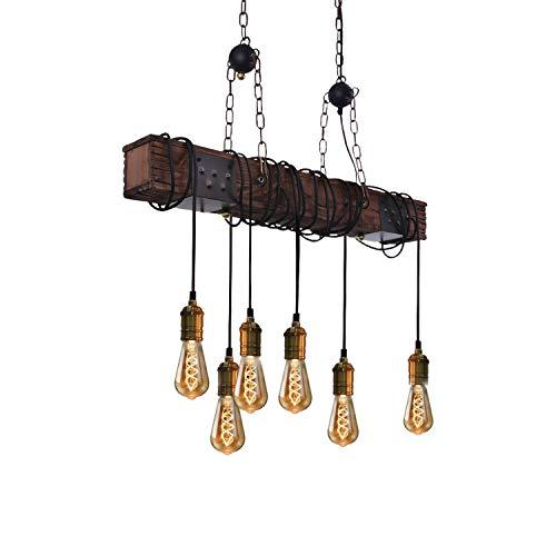 ZMH Lampara colgante vintage rustica para comedor, lampara de mesa de comedor retro con barra de madera de 80 cm, 6 bombillas E27, estilo retro industrial, lampara de techo para comedor, cocina