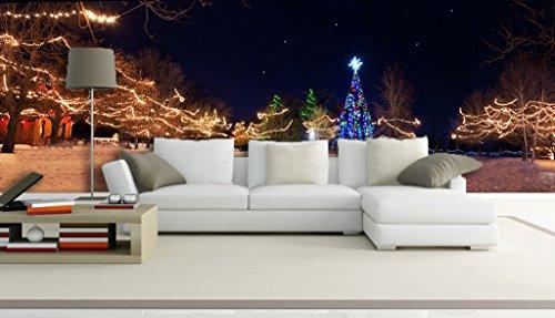 AJ Wallpaper UK Carly 3D-Weihnachtsbaum-Landschaft 505 Wandbild, entfernbar, selbstklebend, groß, Vinyl, kein Kleber und entfernbar, 208 cm x 146 cm (B x H)