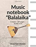 Music notebook 'Balalaika': Music Note Cover, 6 Staves, Music Manuscript Paper,Staff Paper,Musicians Notebook, Vintage Sheet Music Cover