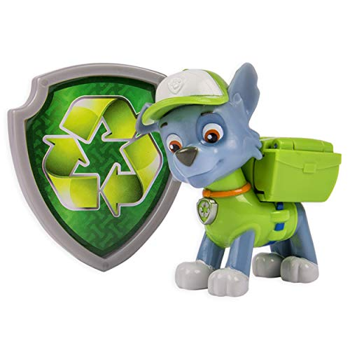 PAW PATROL – Action Pack – Rocky – Figurine Sac à Dos et Badge