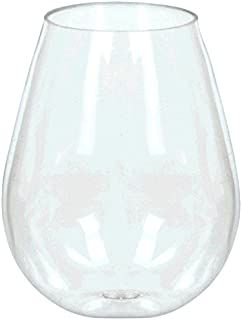 Amscan 355090.86 Mini Stemless Wine Glasses, 4oz, Clear
