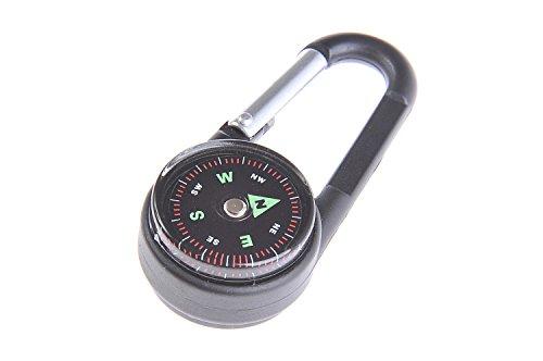 Huntington Clip Compass, brújula mosquetón con termómetro, pequeña, con Cubierta de Aluminio, líquido amortiguado profesionalmente, Negra, DC27T2-02