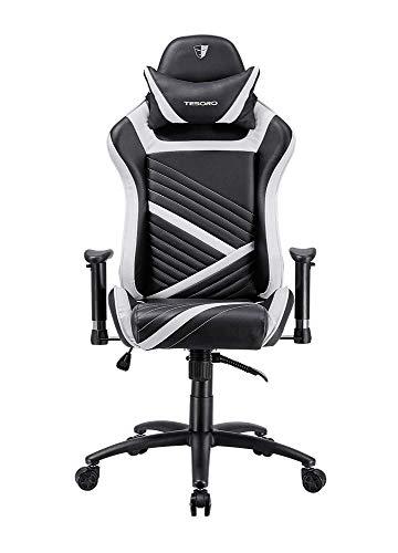 Tesoro Zone Speed F700 Gaming Stuhl Weiß/White Wippfunktion und verstellbare Armlehnen Chefsessel Schreibtischstuhl Gamingstuhl mit PU Kunstleder und Lordosenstütze Lendenkissen