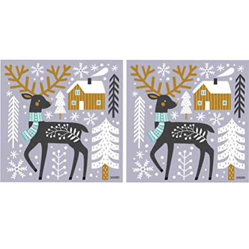 TOYANDONA 2 Hojas de Navidad Adhesivo para Pared Ciervo Copo de Nieve Puerta Calcomanías PVC Tienda Ventana Se Engancha para Puerta Ventana de Vidrio Pared