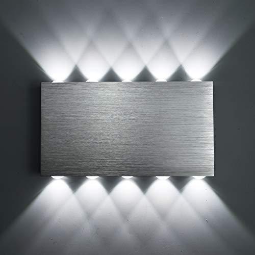 Louvra 30W LED Lampada da Parete Interno in Alluminio Applique da Parete Moderna per Camera da Letto Salotto Scale Bianco Freddo