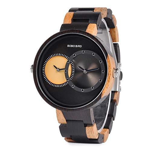 BOBO BIRD R10 - Reloj de pulsera para hombre, 2 zonas horarias, de madera, ligero, de cuarzo, diseño de moda, reloj de pulsera para hombre