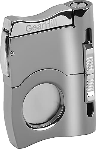 GearHill Cigar Cutter Stainless Steel Blade with 2 Cigar Punches, Comes in a Gift Box (Silver)
