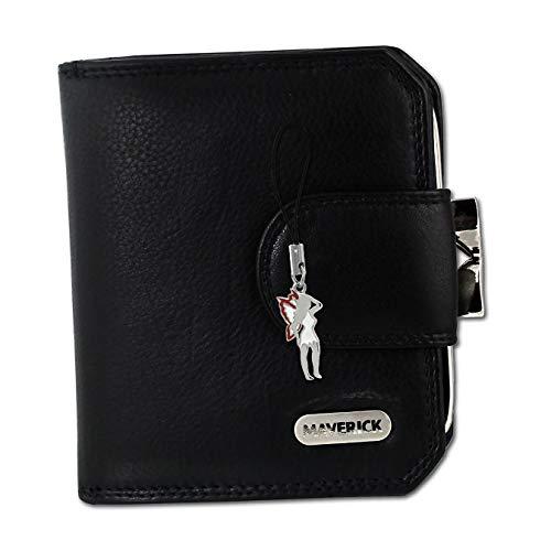 Maverick Damen Geldbörse Portemonnaie Leder schwarz 10x2,5x9cm D2OPD103S EIN schönes Geschenk zu Weihnachten, Geburtstag, Valentinstag für die Frau