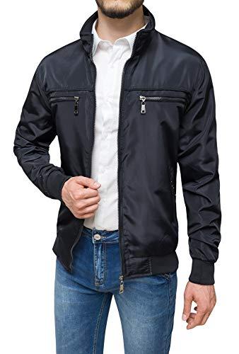 Evoga Giubbotto giacca uomo casual primavera estate giubbino moto slim fit (A1 Nero, 4x_l)