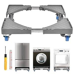 FOCCTS 1 jeu de base de machine à laver réglable, chariot pour appareil mobile à roulettes avec roulettes pour sèche-linge, cuisinières, réfrigérateurs, congélateurs