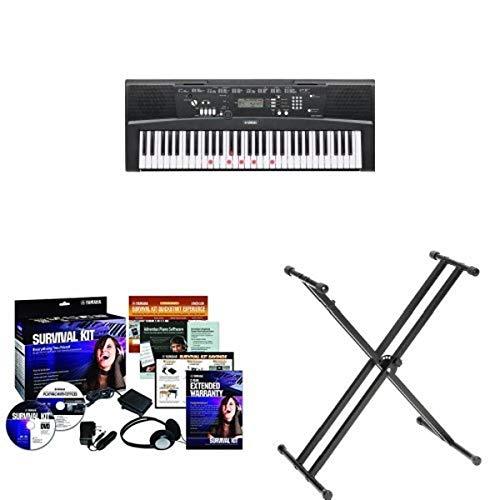 Yamaha EZ220 61-Key Portable Keyboard + Yamaha SKB2 Survival Kit and Yamaha PKBX2 Double X Portable Keyboard Stand