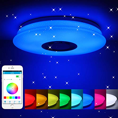 Winbang Luz de techo LED, música inteligente Luces de techo LED RGB Lámpara de techo regulable con control remoto Bluetooth 36W / 60W (60W)
