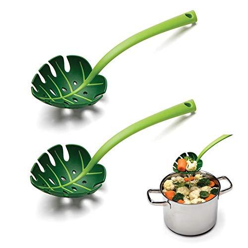 LdawyDE Cuchara Ranurada, Espumadera de Cocina, 2 Piezas Espumadera de Hojas Verdes creativo Cuchara Ranurada de Plástico Antiadherente para Cocinar, Hornear, 30 cm